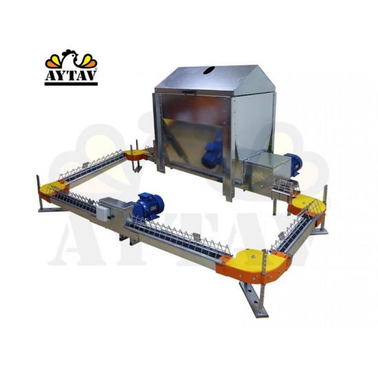 Бункер за улейно - верижна хранилна система (250 кг. на земята) Единичен канал